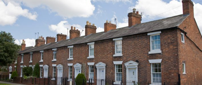 row of terraced houses in England